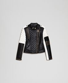 Faux leather biker jacket with studs Two-tone Black / Lily Woman 192MT2040-0S