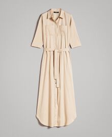 Poplin long shirt dress Beige Porcelain Woman 191MP2210-0S