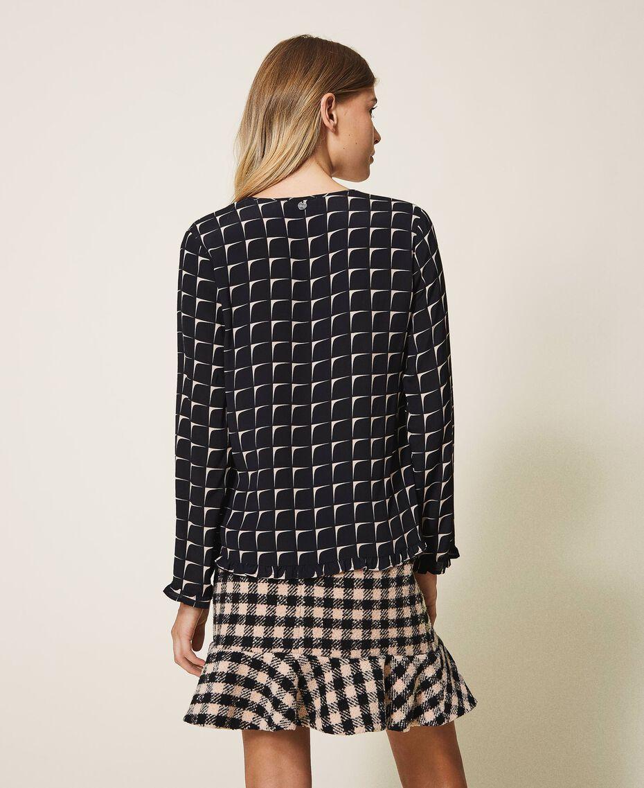 "Printed crêpe de Chine blouse with flounce Black /""Nude"" Beige Optical Print Woman 202ST2505-03"