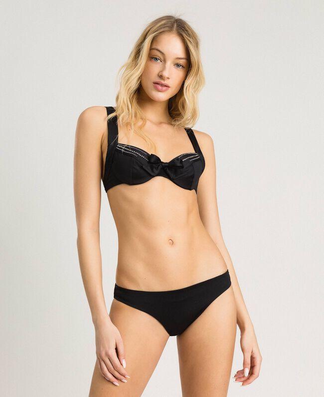 df1ea2c6990d1 Underwired embroidered bikini top Woman, Black | TWINSET Milano