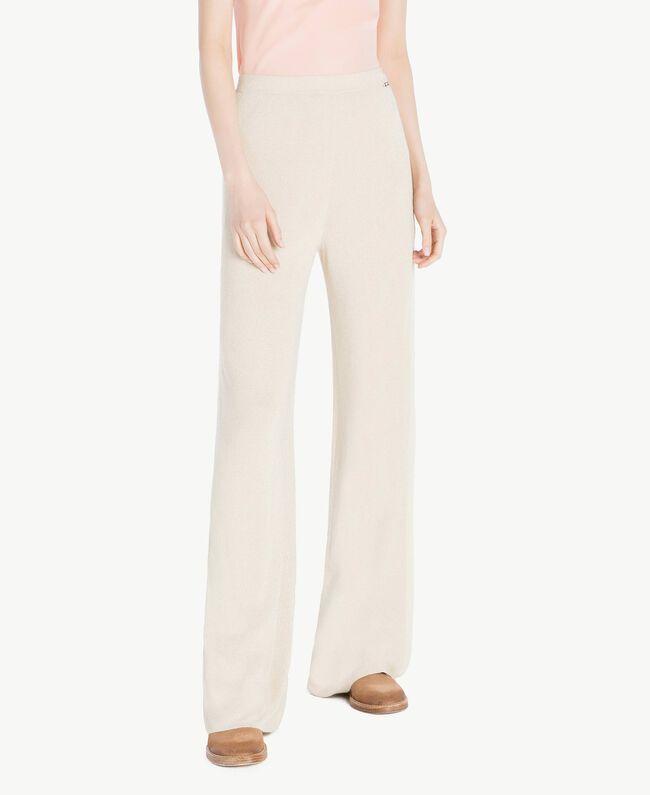 Pantalon palazzo Jacquard Lurex Ivoire Femme SS83EE-01