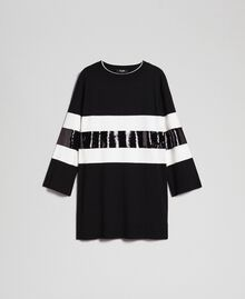 Striped knitted dress with sequins Two-tone Black / Lily Woman 192MT3200-0S