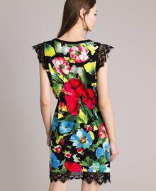 Patterned knit dress Macro Flower Black Print Woman 191TT3180-03