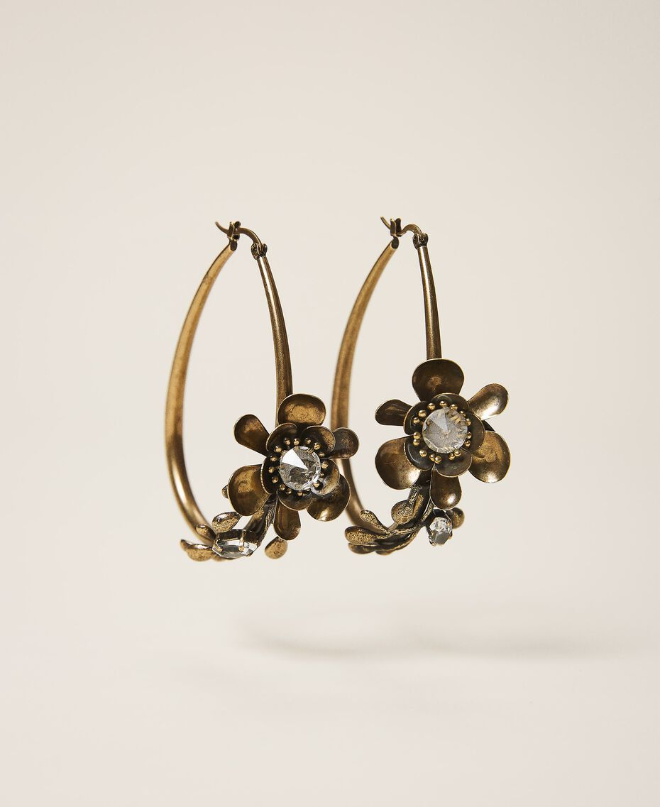 Ohrringe mit Blumen Altmessing Frau 202TO5051-01