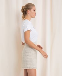 Bouclé fabric short skirt Multicolour Ivory / Silver Grey Woman 201TP2245-03