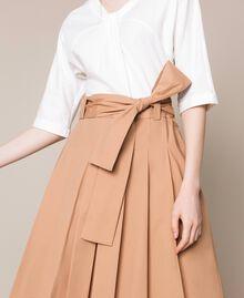 Robe mi-longue avec jupe en popeline Bicolore Blanc Optique / Marron Clair Femme 201ST2023-05
