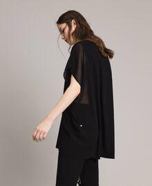 Maxi T-Shirt mit Print und Strass Schwarz Frau 191LB23KK-02
