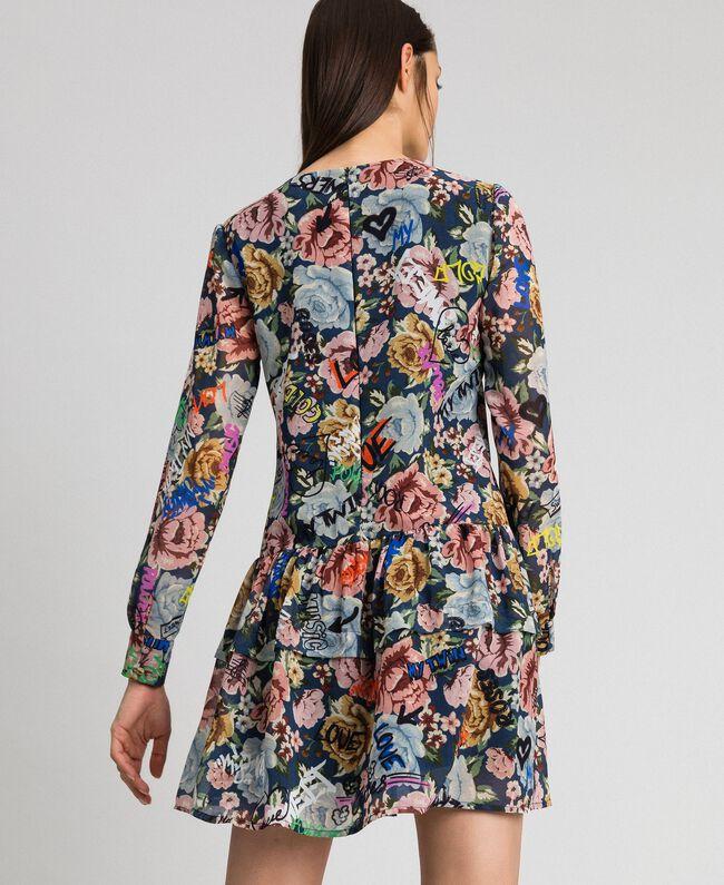 Robe avec imprimé floral et graffiti Imprimé Graffiti Fleur Bleu Femme 192MP222K-03