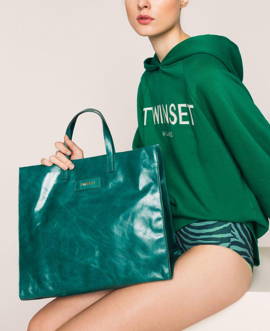 Borsa shopper in pelle con logo Pitone Donna 201TA7090-0S