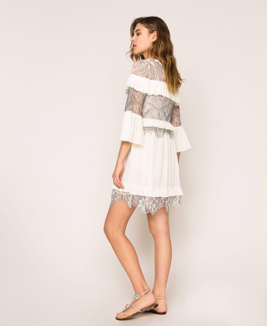 Robe plissée avec dentelle bicolore Blanc Neige Femme 201TT2142-01