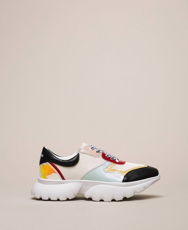 """Patent leather and mesh running shoes Multicolour """"Venetian Red"""" / """"Iris"""" Green Woman 201MCP106-01"""