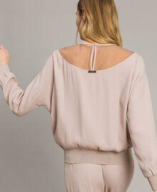"""Sweat shirt avec empiècement en tulle et logo Gris """"Poussière Grise"""" Femme 191LL23BB-04"""
