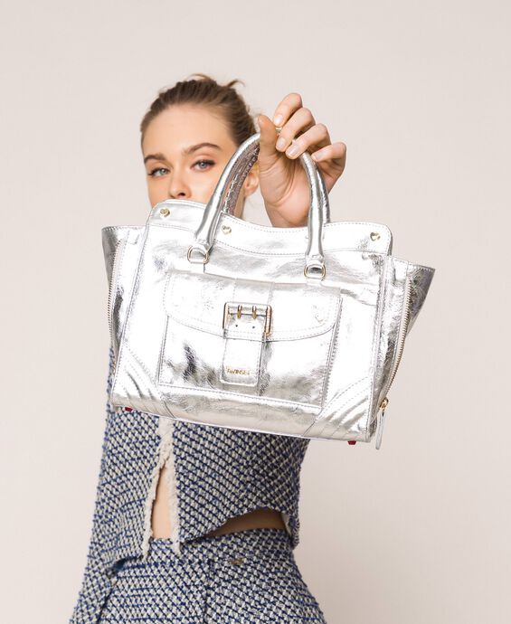 Leather Rebel shopping bag with pocket