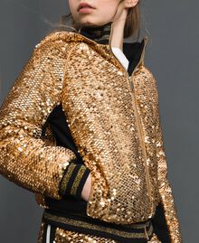 "Velvet bomber jacket with sequins ""Spelt"" Beige Child 192GJ2090-04"