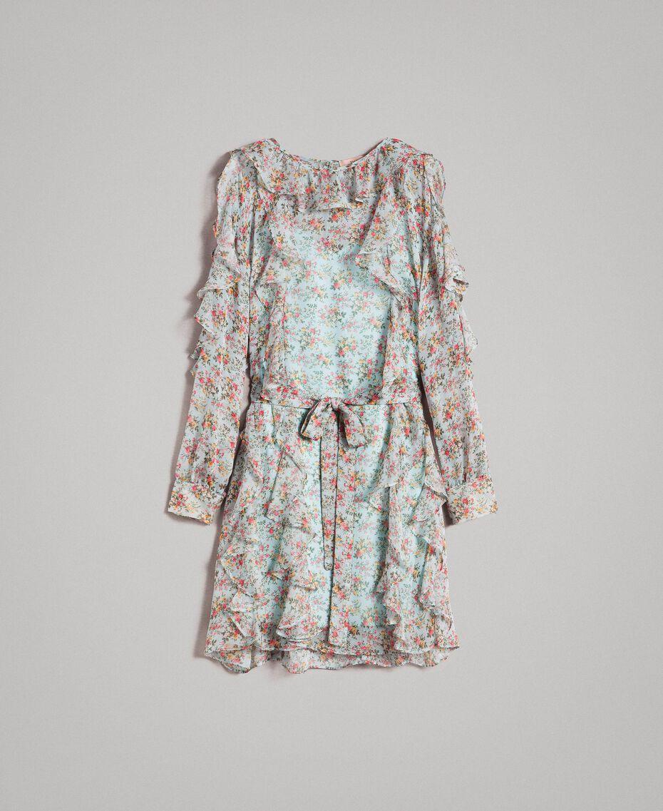 Robe volantée en crêpe georgette floral Imprimé Bouquet Aigue-marine Femme 191TP2573-0S