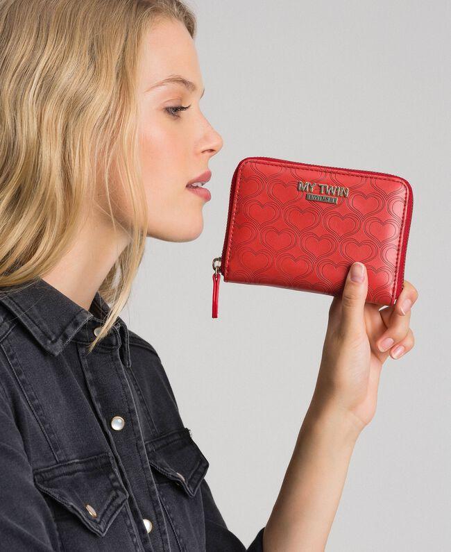 Petit portefeuille en similicuir avec imprimé cœurs Rouge Coquelicot Femme 192MA7016-0S
