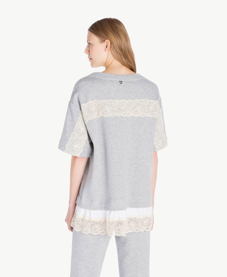 Sweat-shirt volants Gris clair chiné Femme PS82UQ-03