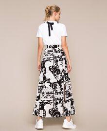 Jupe longue en toile imprimée Imprimé Liberty Blanc / Noir Femme 201ST213A-04