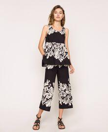 Pantalon cropped en popeline florale Imprimé Fleur Graphique Noir Femme 201TT2316-01