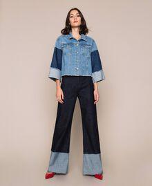 Blouson boxy en jean color block Bleu Denim Femme 201MP2290-0T