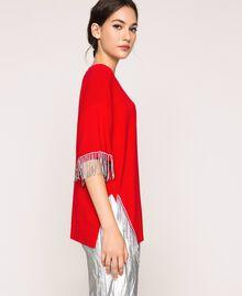 """Maxy maglia con frange di strass Rosso """"Lava"""" Donna 201TP3082-03"""