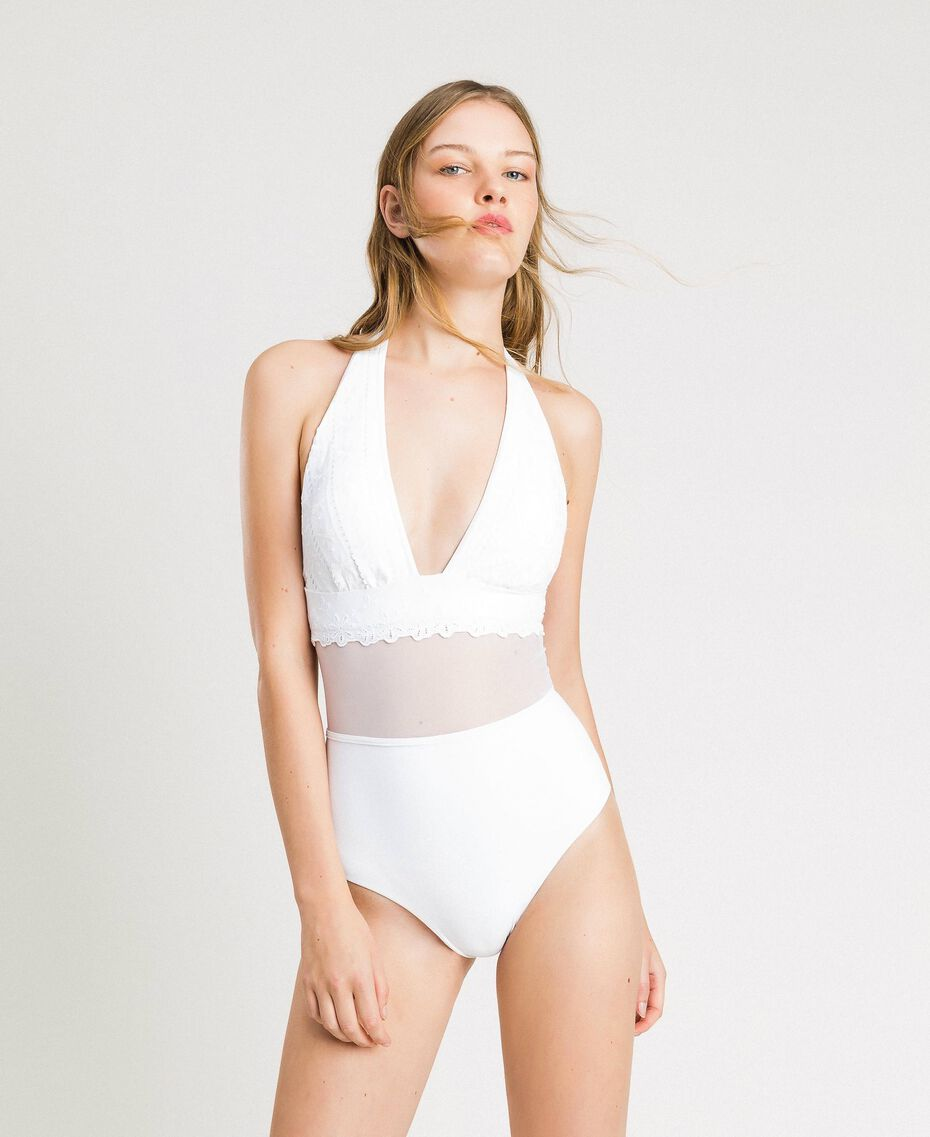 One-piece swimsuit with broderie anglaise embroidery and tulle White Woman 191LBMEZZ-0S