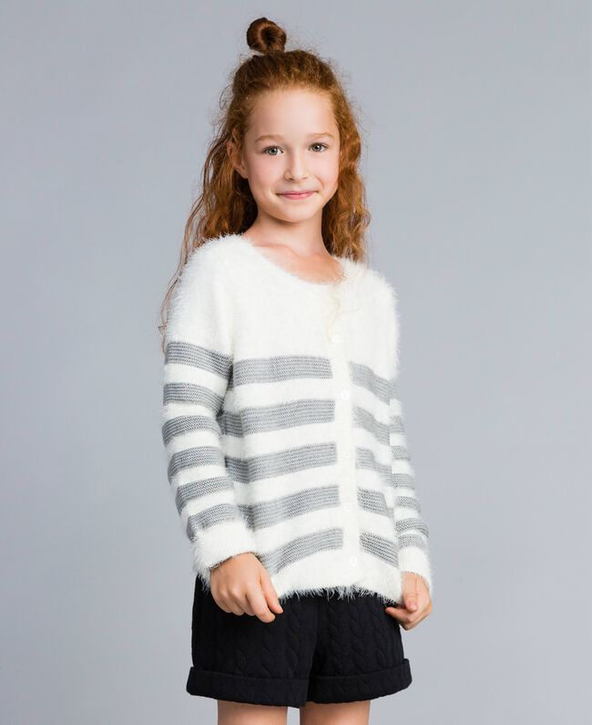 "Wool blend striped cardigan Bicolour Off White / ""Stone"" Grey Child GA83E2-0T"