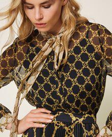 Creponne shirt with chain print Black / Ivory Large Chain Print Woman 202TT221D-01