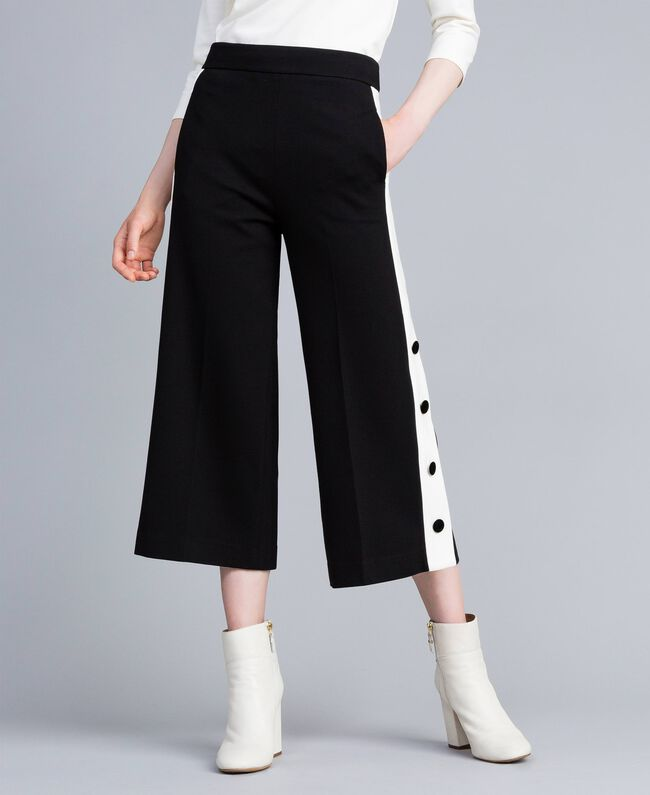 Pantacourt en point de Milan Bicolore Noir / Blanc Neige Femme PA821P-01