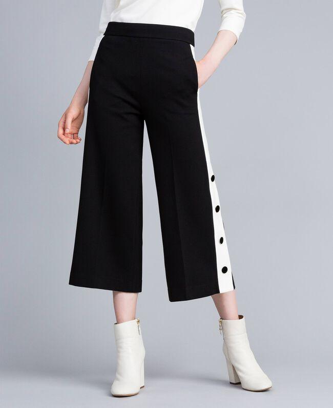 "Pantaloni cropped in punto Milano Bicolor Nero / Bianco ""Neve"" Donna PA821P-01"