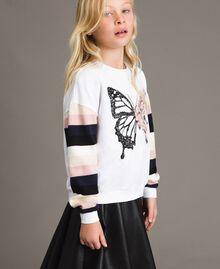 Geknüpfter gestreifter Baumwoll-Pullover Streifen Optisch Weiß / Multicolour Kind 191GJ2451-03