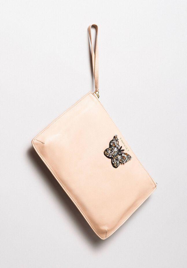 Pochette aus Leder mit Schmetterling
