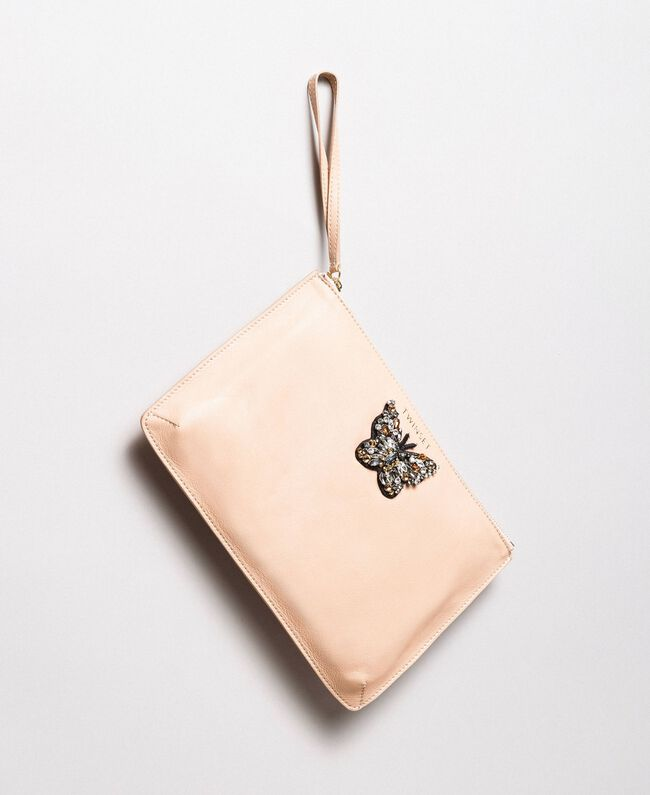 Leather clutch bag with butterfly Nougat Beige Woman 191TA7290-01
