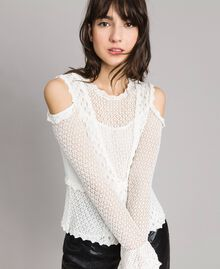 Lace stitch jumper White Snow Woman 191TP3072-01