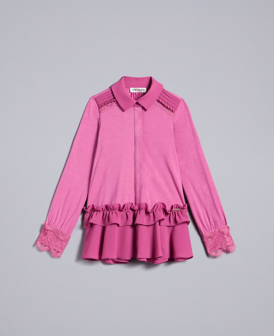 Flounced jersey shirt Pink Bouganville Child GA82HB-01