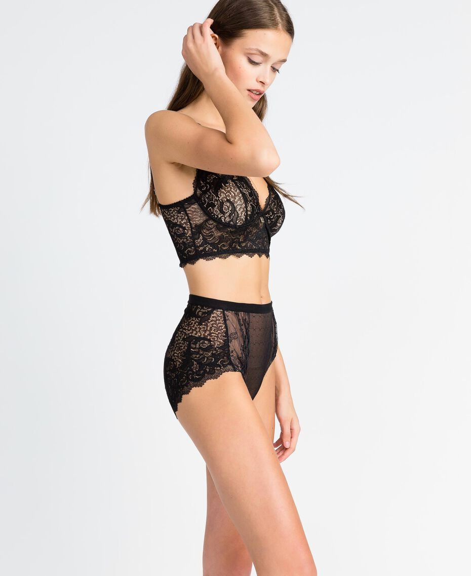 Tulle plumetis and lace high-waist briefs Black Woman LA8A99-02