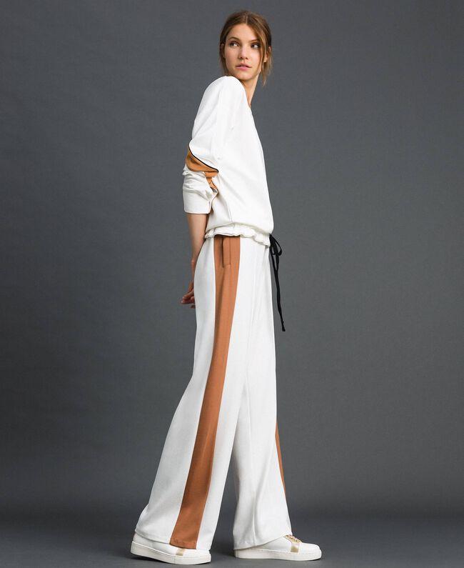 Pantalon palazzo avec bandes contrastées Ivoire / Beige «Camel Skin» Femme 192LI2HCC-01
