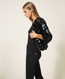 Flared jeans with sequins Black Woman 202MT2124-04