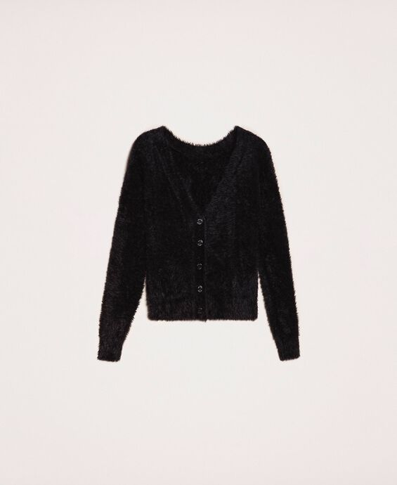 Fur effect yarn jumper-cardigan