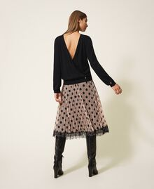 Pleated tulle skirt with lace Nude Beige Polka Dot Print Woman 202ST2065-03