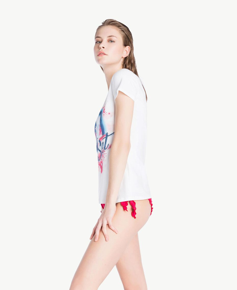 T-shirt strass Blanc Femme BS8CAA-03