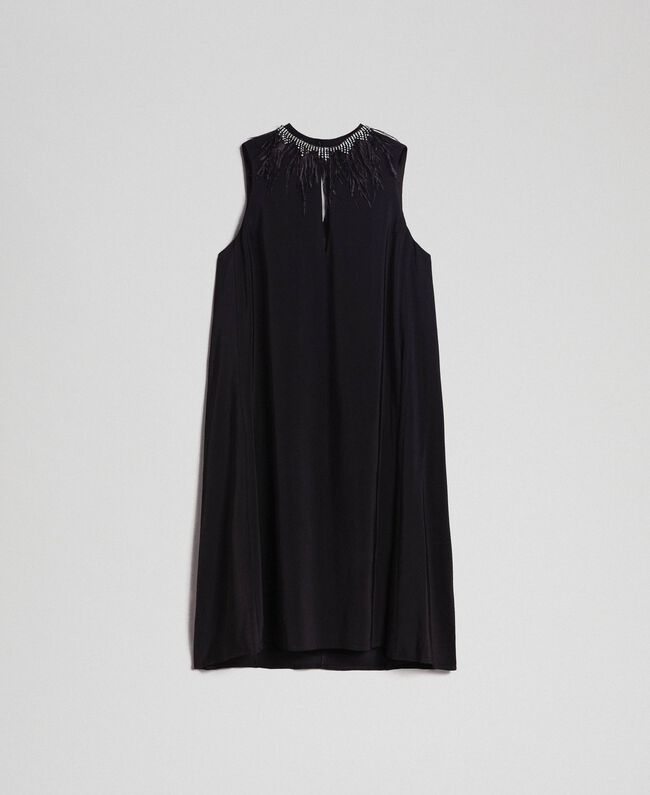 Georgette dress with removable jewel Black Woman 192TP2111-0S