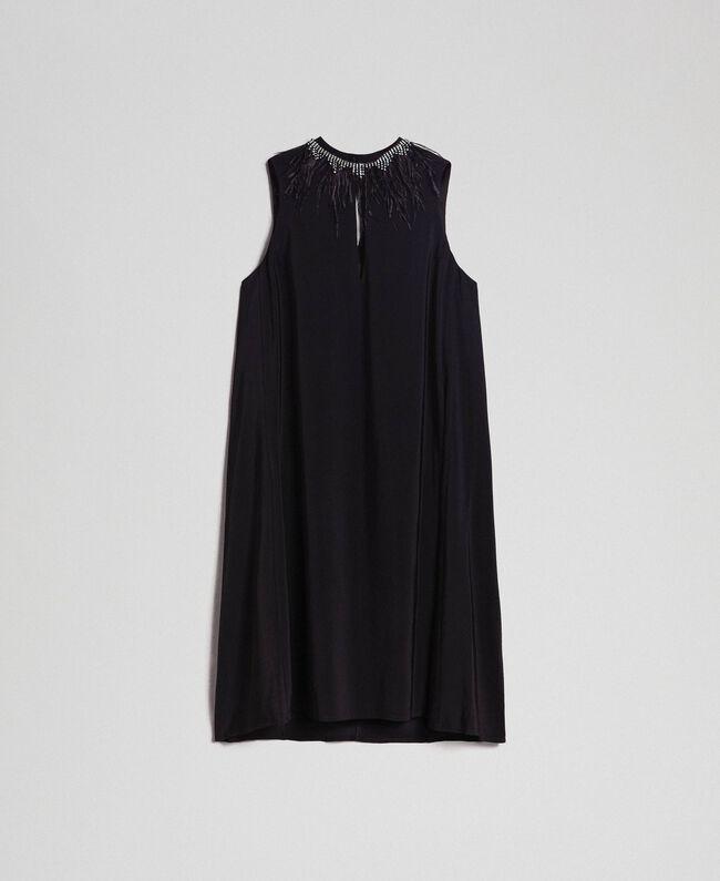 Kleid aus Georgette mit abnehmbarem Schmuck Schwarz Frau 192TP2111-0S