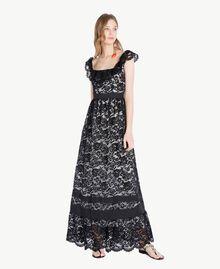 Langes Kleid aus Spitze Schwarz Frau TS828N-01