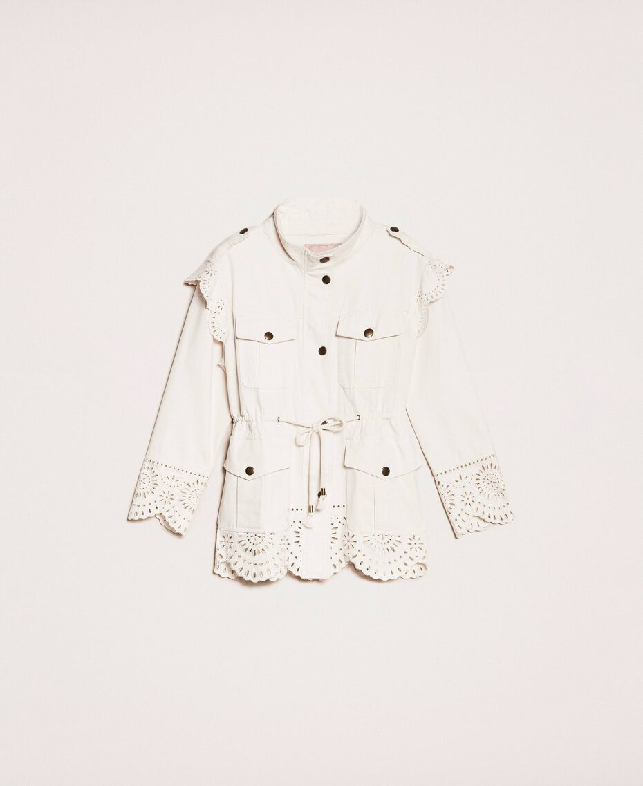 "Canvas jacket with broderie anglaise ""Dune"" Beige Woman 201TP2011-0S"