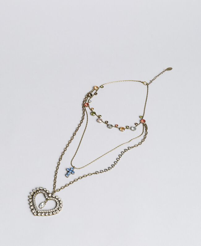 Multi-string rhinestone necklace Antique Brass Multicolour Woman AA8P75-01
