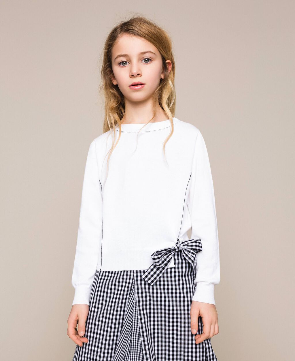 Jumper with gingham print bow