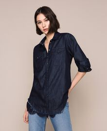 Denim shirt with lace Denim Blue Woman 201MP2402-01