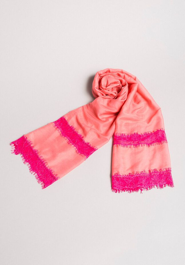 Cotton scarf with lace