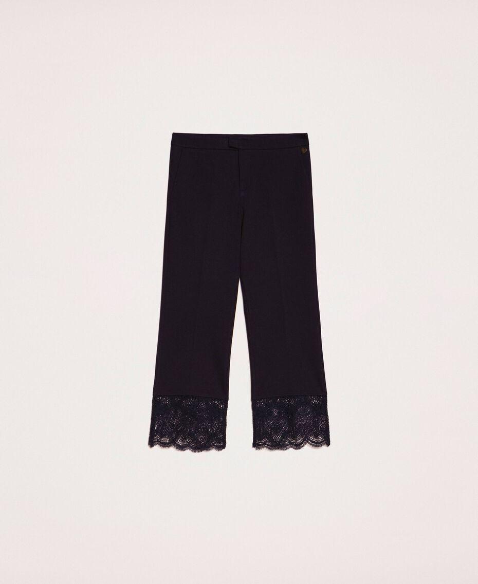 Pantalon avec dentelle Noir Femme 201TP2123-0S
